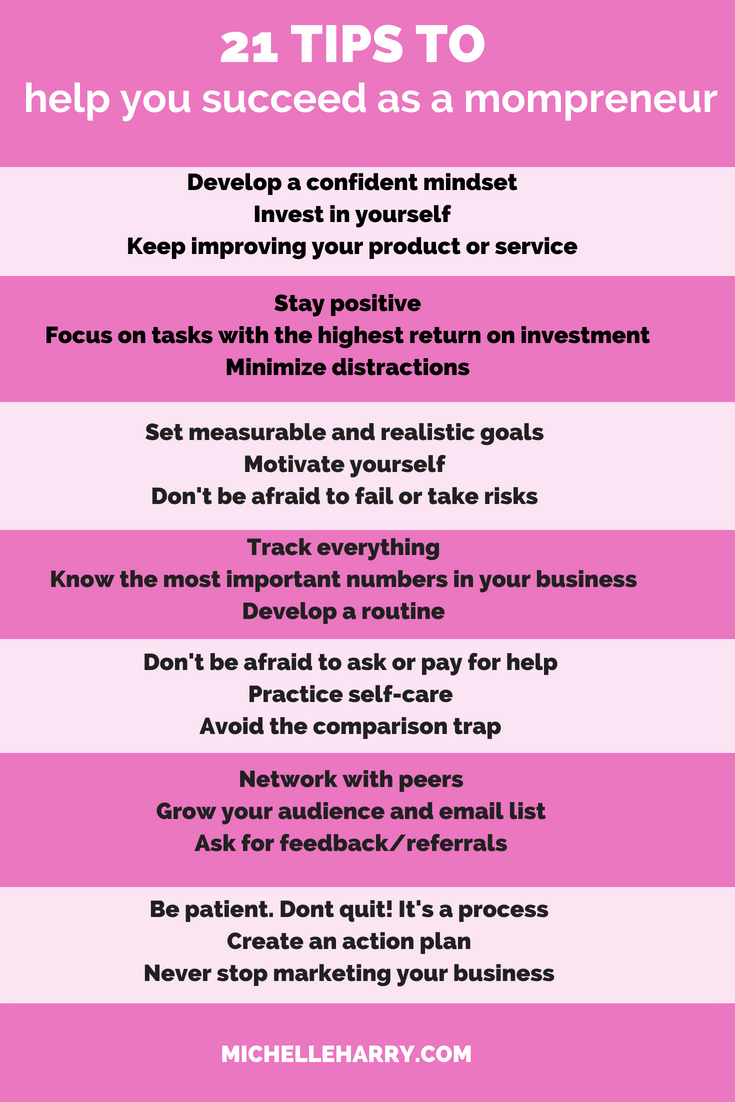 Mompreneur tips. Are you juggling business and family duties? Do you need some ideas to help you succeed as a mompreneur? Click on this pin and save it so you can refer to it when you want. Lots of business tips for women
